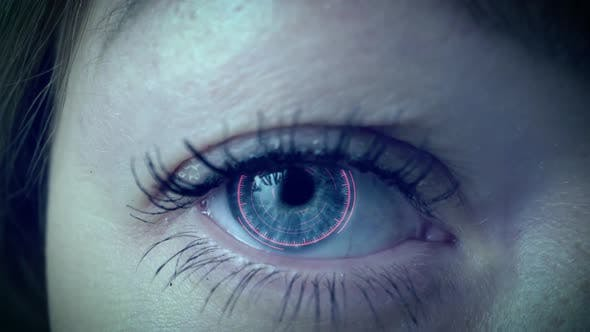 Thumbnail for Brown Eye Girl with Futuristic Software Interface. Close Up