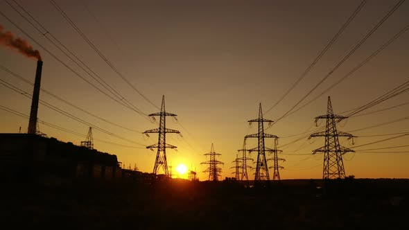 Transmission towers at dusk