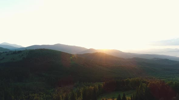 Thumbnail for Wooded Mountains at Sunset Aerial View