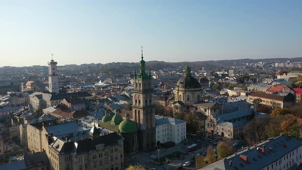 Thumbnail for Aerial Video of Uspinska Church in in Central Part of Old City of Lviv, Ukraine