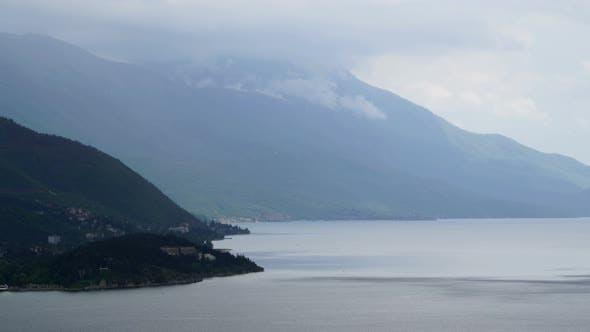 Thumbnail for Rainy day, rain cloud passing over Lake Ohrid, Macedonia