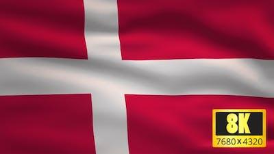 8K Denmark Windy Flag Background