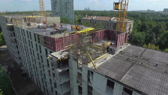 Thumbnail for A Roof Under Construction with Workers on It