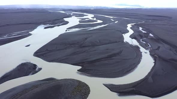 Flying Over a Large Icelandic Glacial River System, Delta in Vatnajokull National Park, Iceland