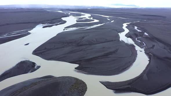 Thumbnail for Flying Over a Large Icelandic Glacial River System, Delta in Vatnajokull National Park, Iceland