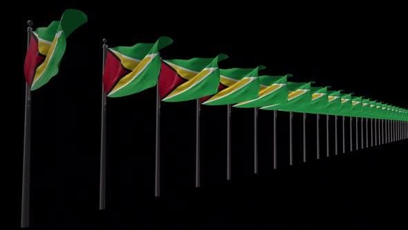 Reihe von Guyana-Flaggen mit Alpha 2K