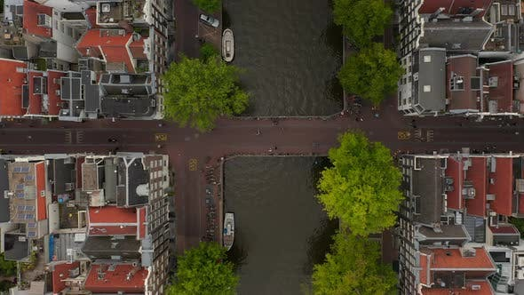 Famous Amsterdam Canal Bridge From a Birds View Aerial Perspective