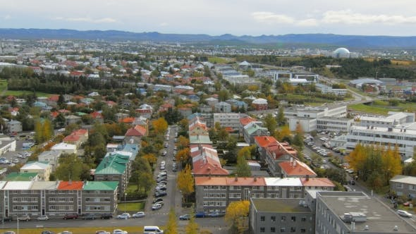Thumbnail for Panorama of Reykjavik City From Top in Autumn Time, View on Multi Colored Roofs