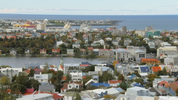 Thumbnail for Top View on Panorama of Reykjavik City, Lake Tjornin and Seltjarnarnes Peninsula in Autumn Time