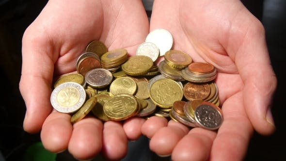 Thumbnail for Hand Holding Euro Coins Money