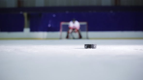 Thumbnail for Ice Hockey Player Holding a Demonstration a Free Throw Into the Opponent's Gate Ice Hockey Puck and