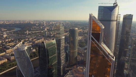 Thumbnail for Business Center Moscow City, Aerial Photography on the Drone