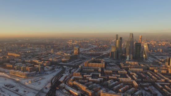 Thumbnail for Business Center Moscow City, Aerial Winter