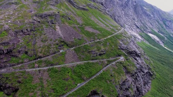 Thumbnail for Troll's Path Trollstigen or Trollstigveien Winding Mountain Road.