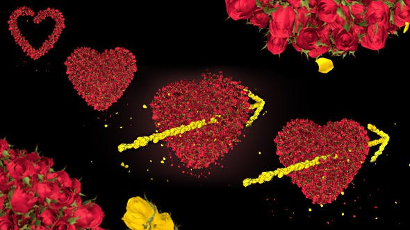 Thumbnail for Rose Flower Heart and Arrow Valentine Love Symbol Formation