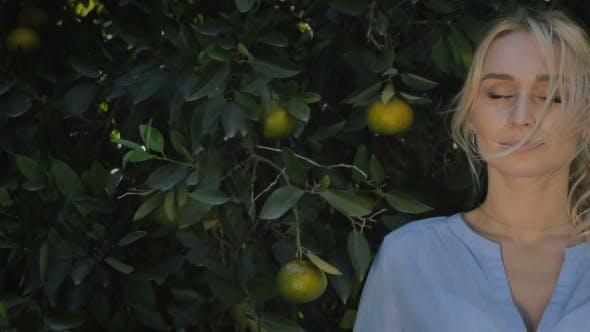 Beautiful Woman Demonstrate Orange in