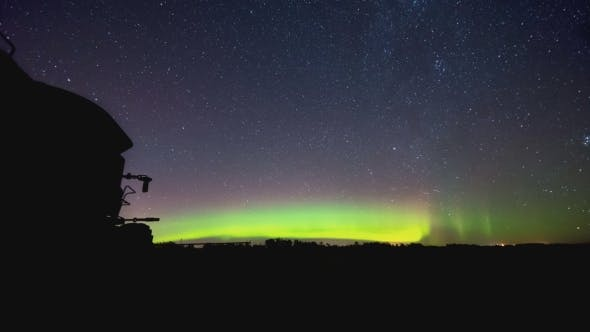Thumbnail for Northern Lights Over Farm Field