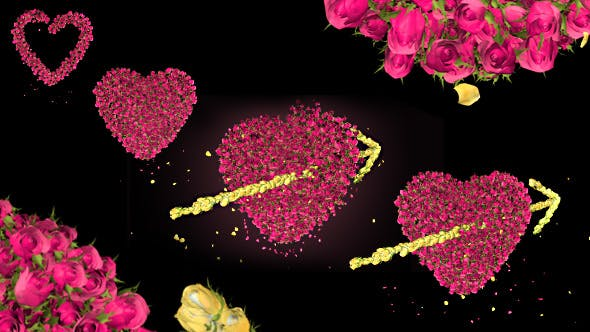 Thumbnail for Pink Rose Flower Heart and Arrow Valentine Love Symbol Formation