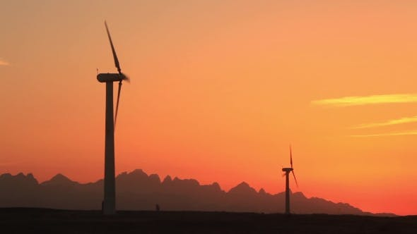 Thumbnail for Wind Turbines at Sunset Sky Background