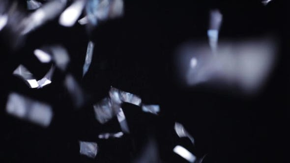 Thumbnail for Silver Confetti Falling Over Black Background 12