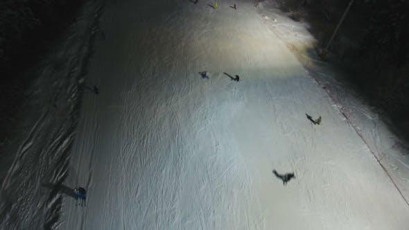 Thumbnail for Ski Resort at Night. Aerial View.