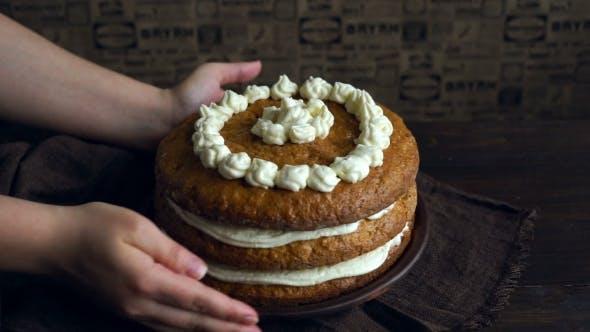 Thumbnail for Carrot Cake with Cream. Homemade Cake Sweet. Sweet Pie Dessert