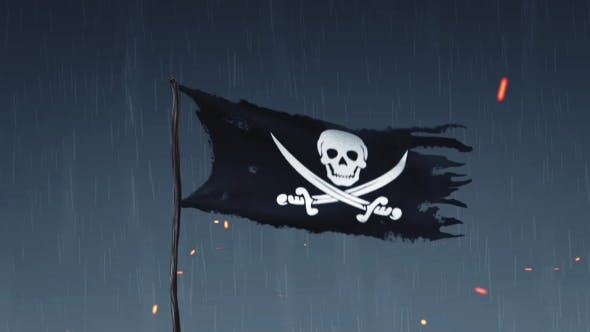 Thumbnail for Animation of a Pirate Flag Amid Thunderstorms