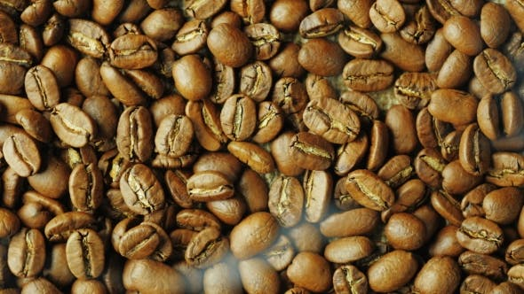 Thumbnail for Hot Choicest Arabica Beans, Rotate. Above Them, a Wisp of Smoke