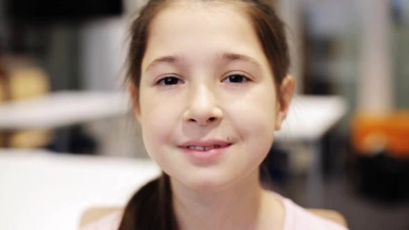 Thumbnail for Happy Smiling Beautiful Preteen Girl at School 44