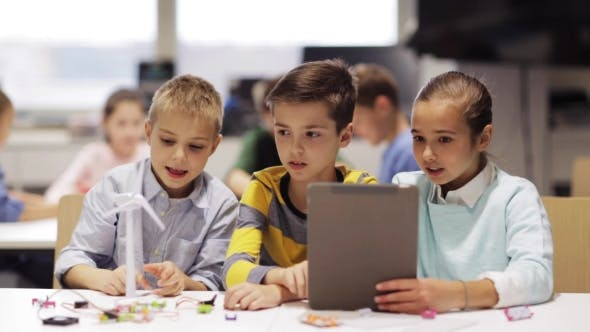 Thumbnail for Kids with Tablet Pc Programming at Robotics School 62