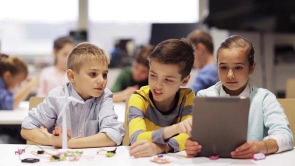 Thumbnail for Kids with Tablet Pc Programming at Robotics School 61