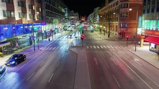 Stockholm Night Road Traffic Timelapse