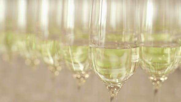 Thumbnail for Many Glasses of Champagne on New Year Party