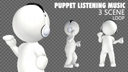 3D Puppet Character Listening Music - 3 Pack