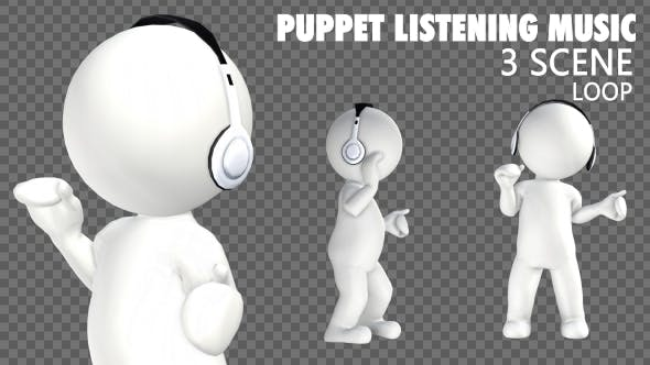 Thumbnail for 3D Puppet Character Listening Music - 3 Pack