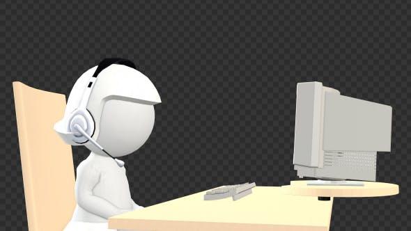 Customer Support Girl - 3D Puppet Character