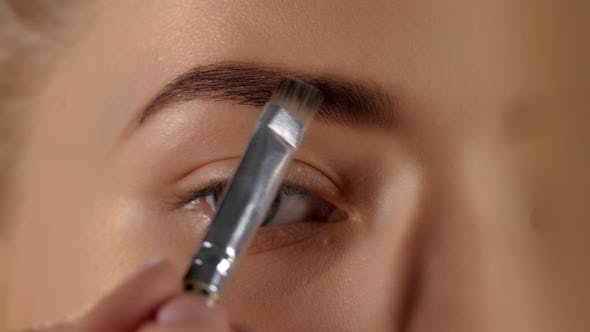 Cover Image for Makeup Artist Eyebrows with the Brush, Closeup