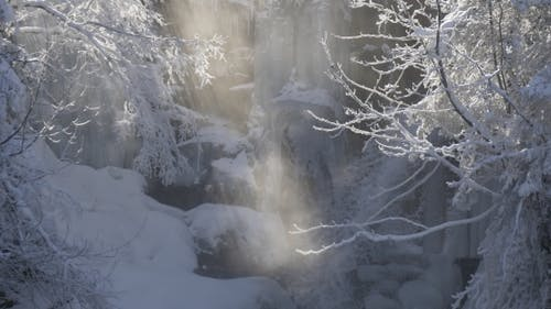 Frozen Waterfall and Rays of Sun