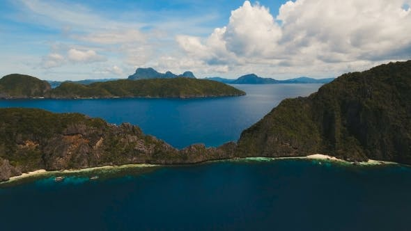 Thumbnail for Tropical Island and Sandy Beaches, Aerial View. El Nido
