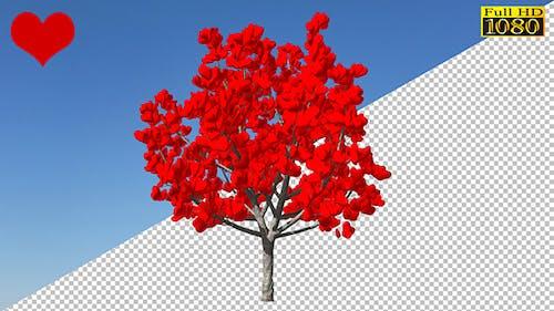 Valentine`s Baum mit Herzen