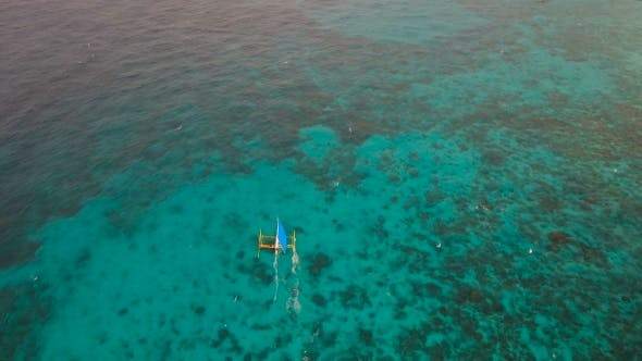 Thumbnail for Sailing Boat in Blue Sea. Boracay Island Philippines.