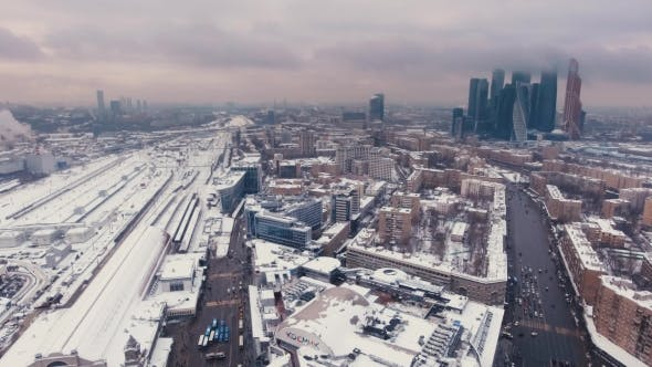 Thumbnail for Aerial Video Footage Snowy Business Center Moscow City