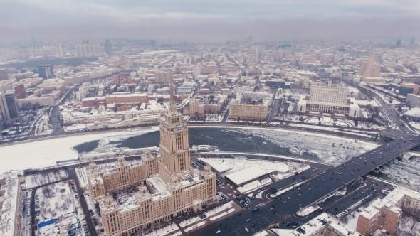 Thumbnail for Aerial Filming Hotels Ukraine Air, Moscow Russia. Flight Over the Seven Sisters, the Courtyard and