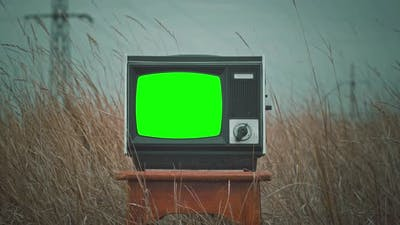 Vintage Tv Television Green Screen. Green Screen of an Old Television Vintage Style