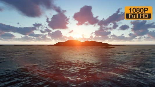 Island and Sunset Clouds