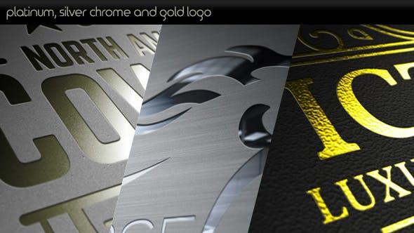 Thumbnail for Logo de oro y cromo plateado platino.