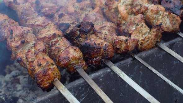 Thumbnail for Delicious Pork Kebab Grilled Outside