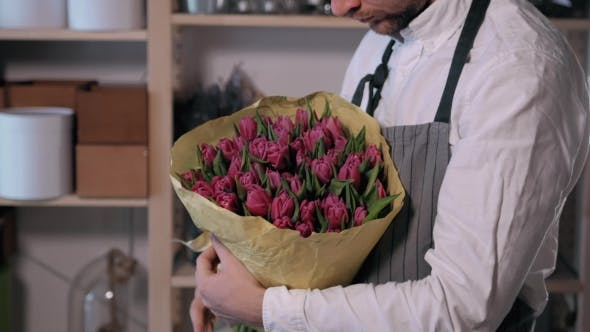 Thumbnail for Florist Hands. Man Making Bunch at Flower Shop. People, Business, Sale and Floristry Concept