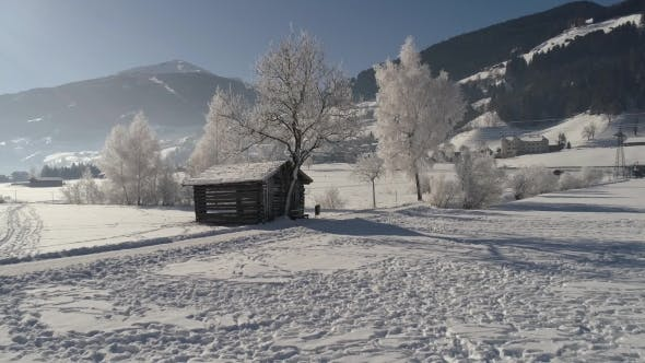 Thumbnail for Barn in the Snow-covered Field