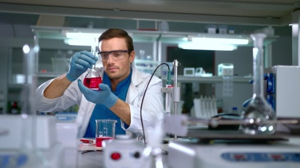 Thumbnail for Chemist Studying Liquid in Glass Flask at Modern Lab. Laboratory Worker